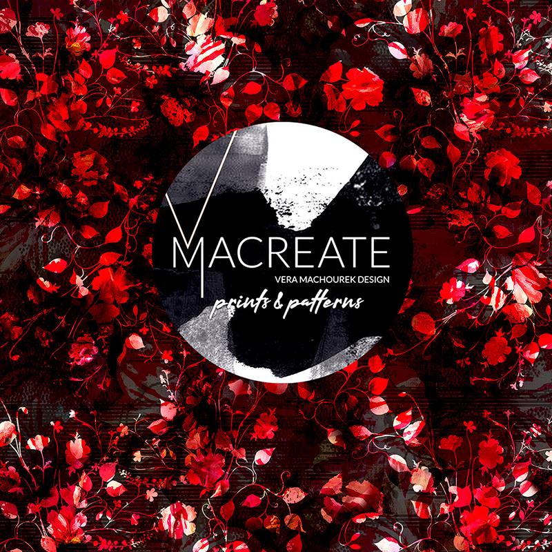 red blooms in seamless pattern repeat by MACREATE