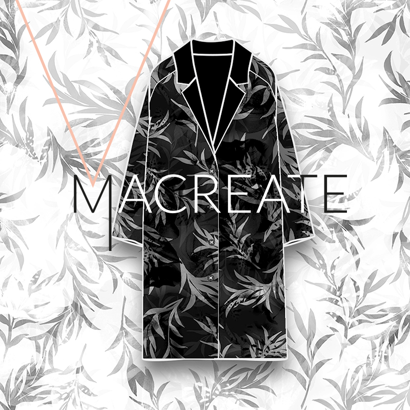 leave print design on winter coat by MACREATE