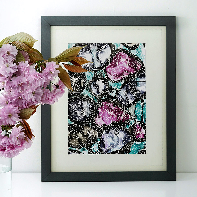 Handdrawn abstracted floral print design by MACREATE in frame