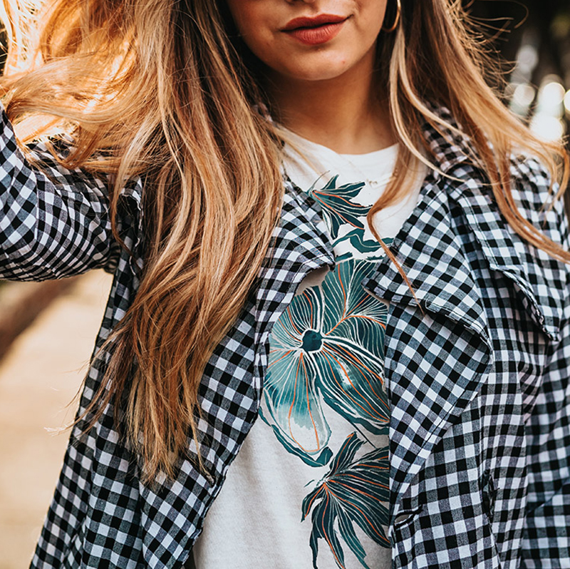 Handdrawn floral placement print on white T-shirt by MACREATE