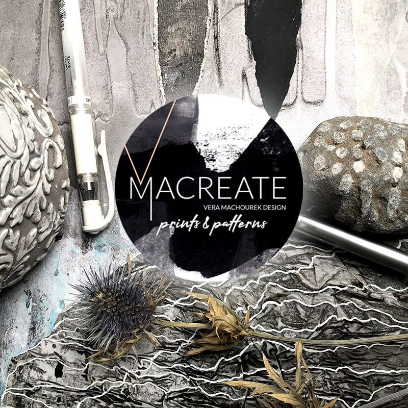 artistic handdrawn abstract collage art design by MACREATE