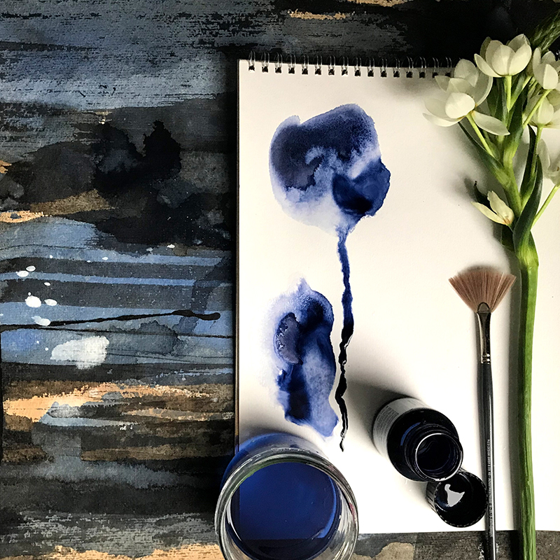 watercolor art with brush and flower