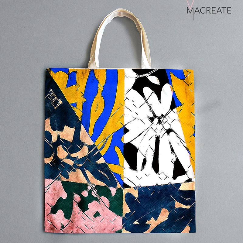 flower graphic print by MACREATE on shopping bag