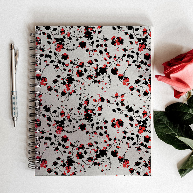 Millefleur ditsy flower design on notebook cover by MACREATE