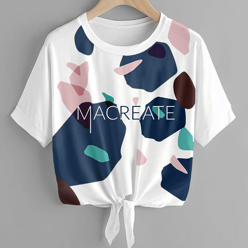 Artistic terrazzo pattern design by MACREATE on knotted Jersey shirt