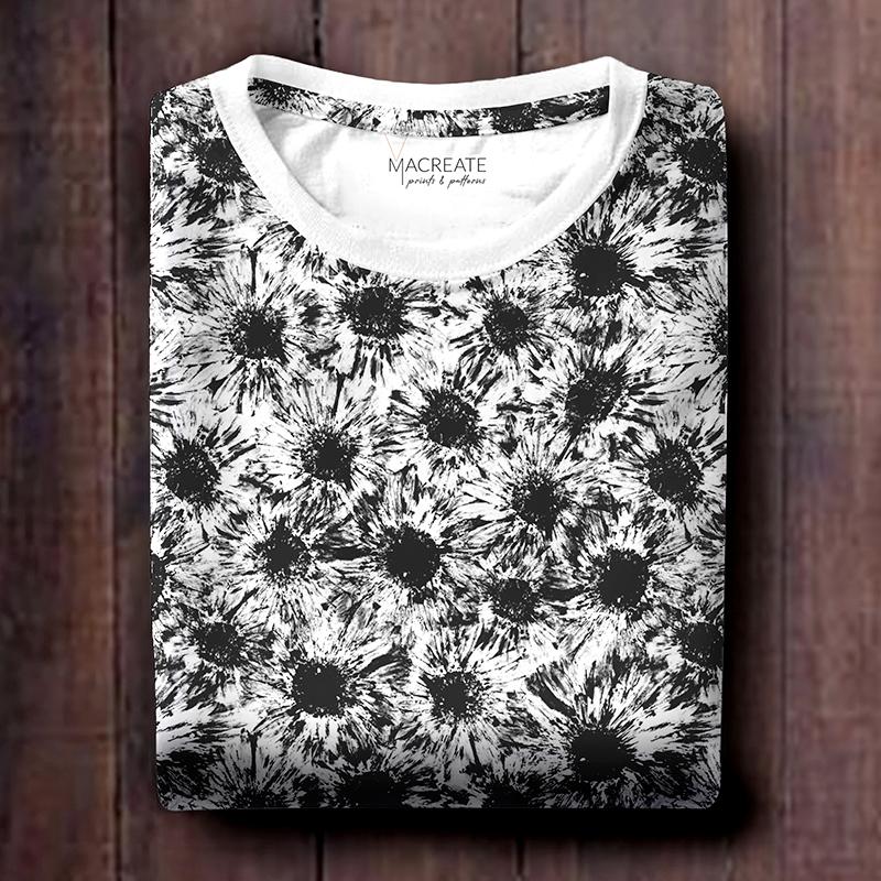 flower allover print by MACREATE on white t-shirt