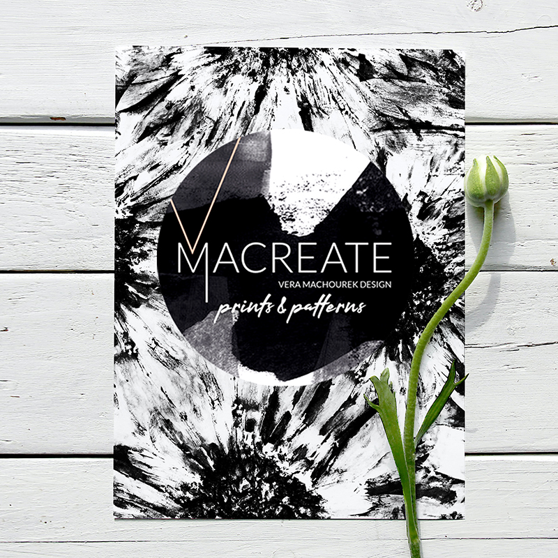 artistic flower alloverprint design by MACREATE on notebook cover