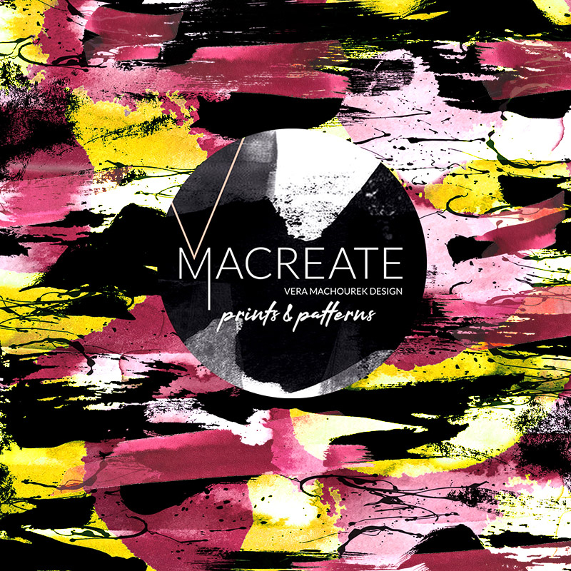 Artistic brushstroke pattern design by MACREATE in Yellow Pink