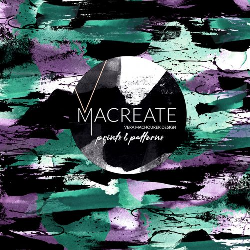 Artistic brushstroke seamless print by MACREATE in Green Lilac