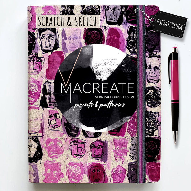Artistic seamless pattern by MACREATE in Pink on notebook cover
