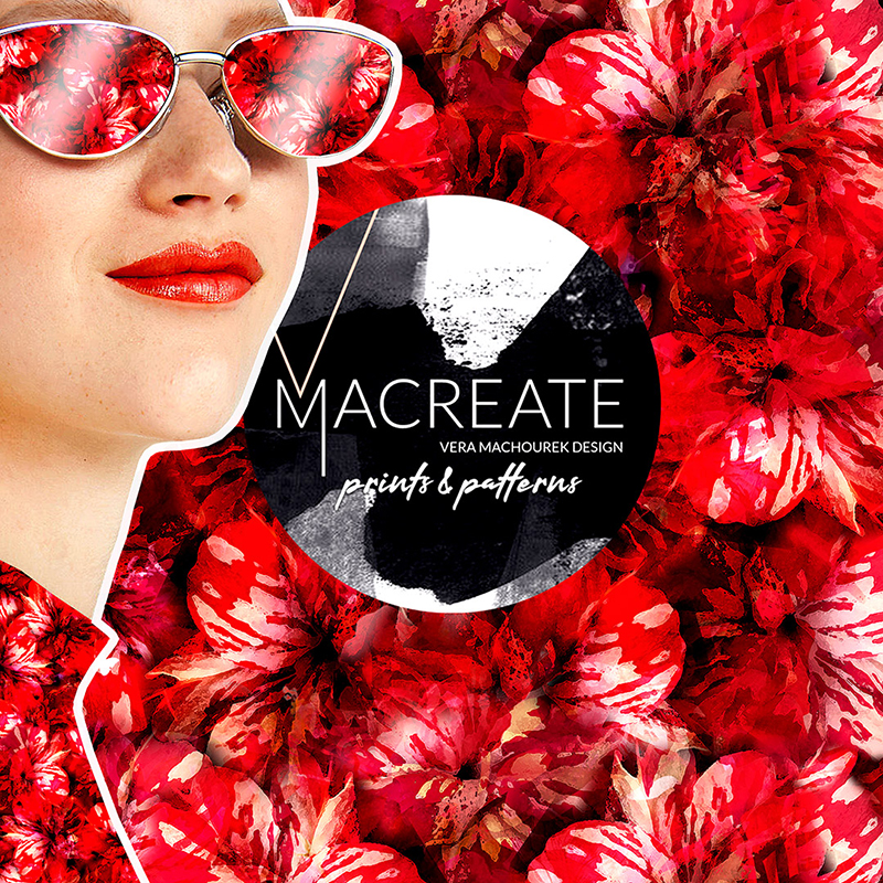 seamless pattern repeat with red hibiscus by MACREATE