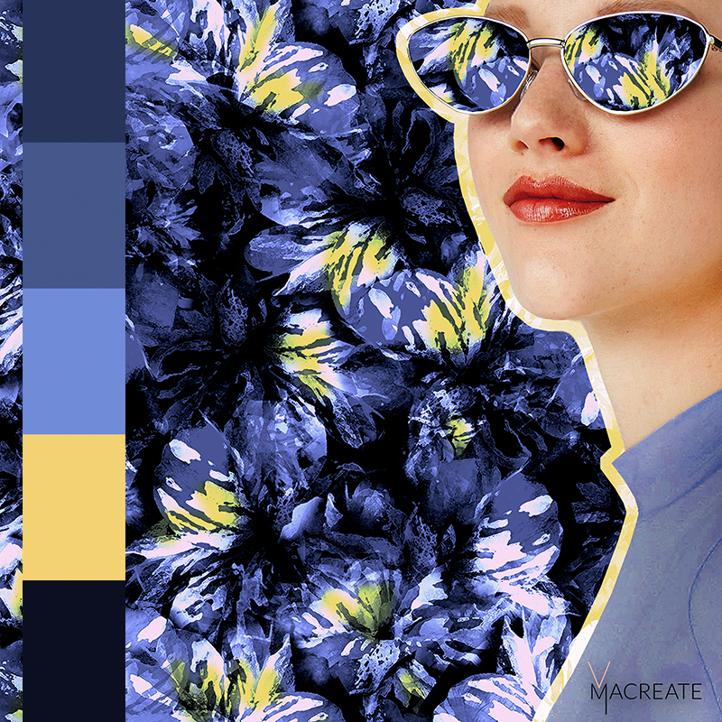 tropical hibiscus print with colorcard by MACREATE