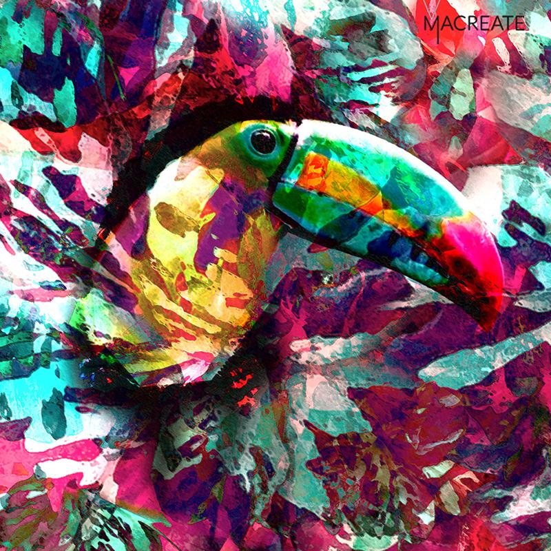 tropical exotic tucan digital print by MACREATE in saturated colors