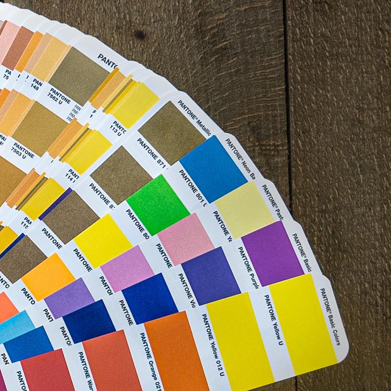 colorcard showing several Pantone colors