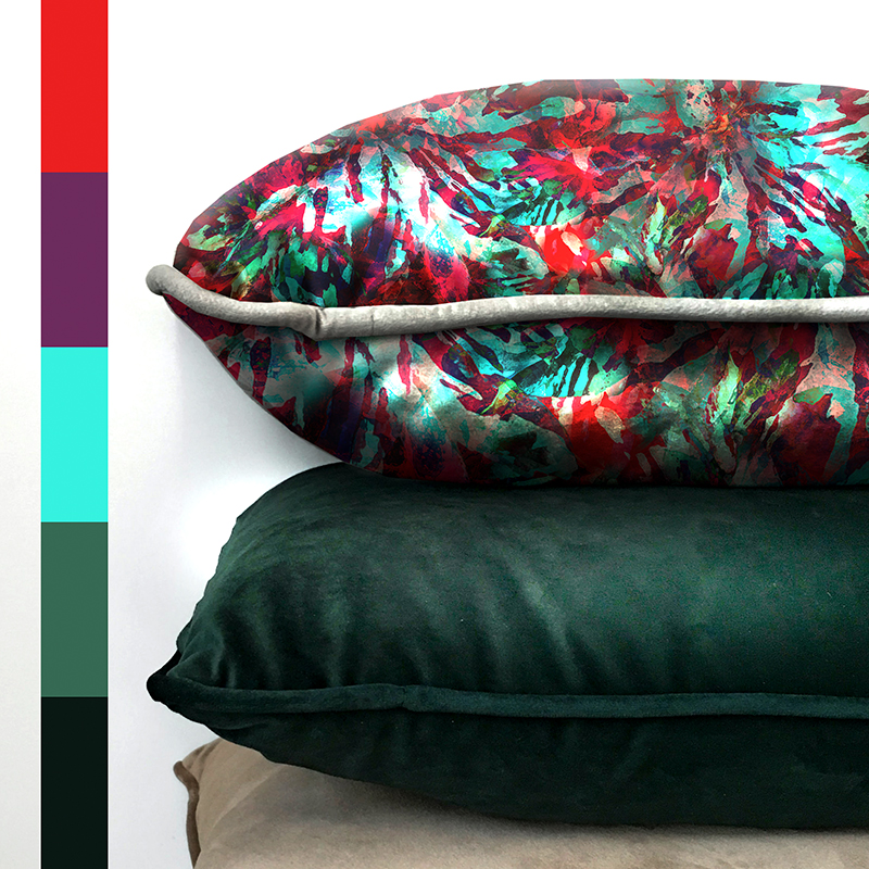 exotic printed pillow design with color palette by MACREATE