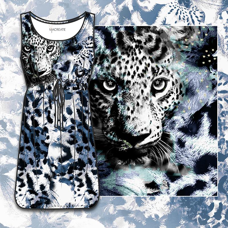 leopard digital print on womenswear dress by MACREATE