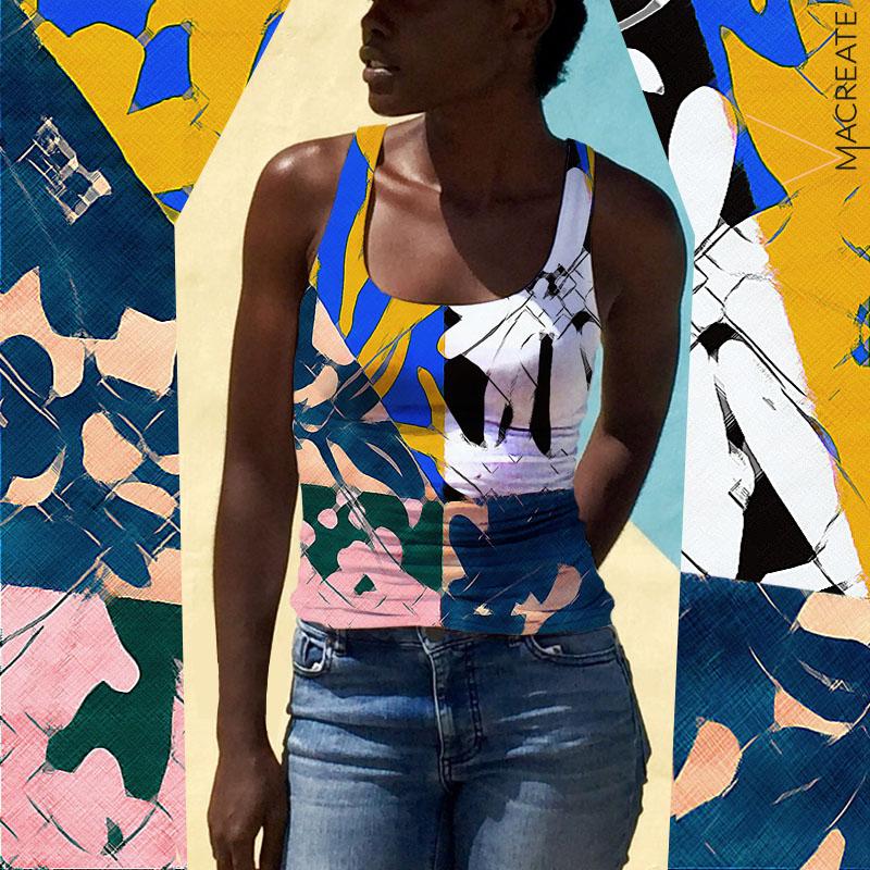 artistic print on womenswear fashion top by MACREATE
