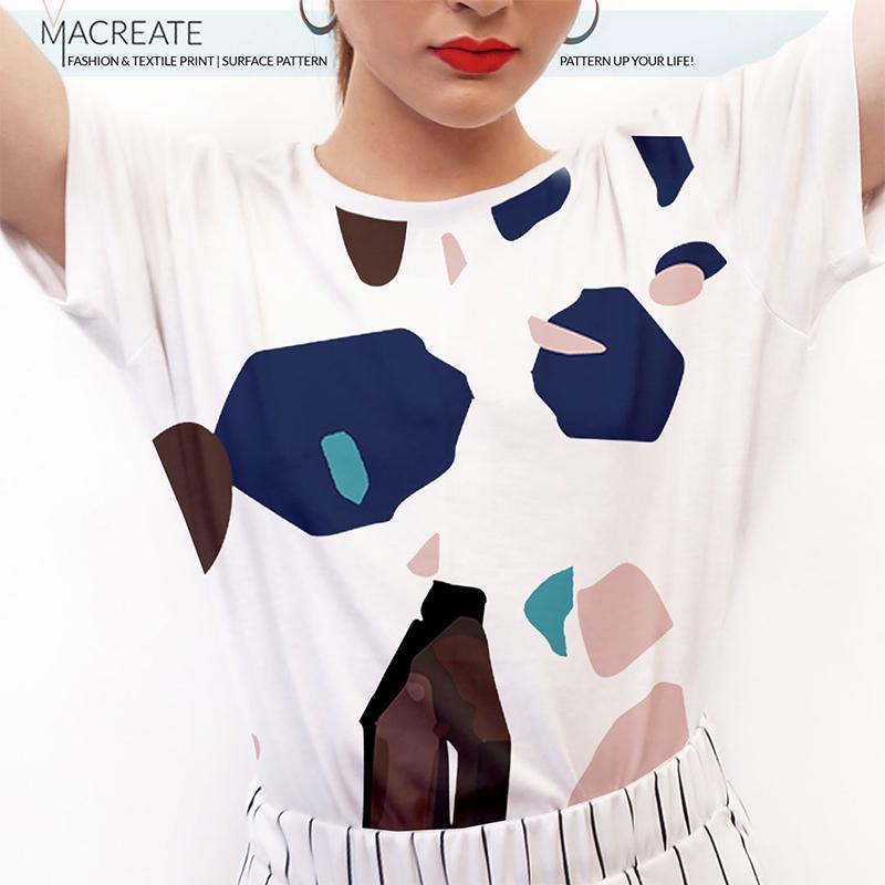 Terrazzo print design on shirt by MACREATE
