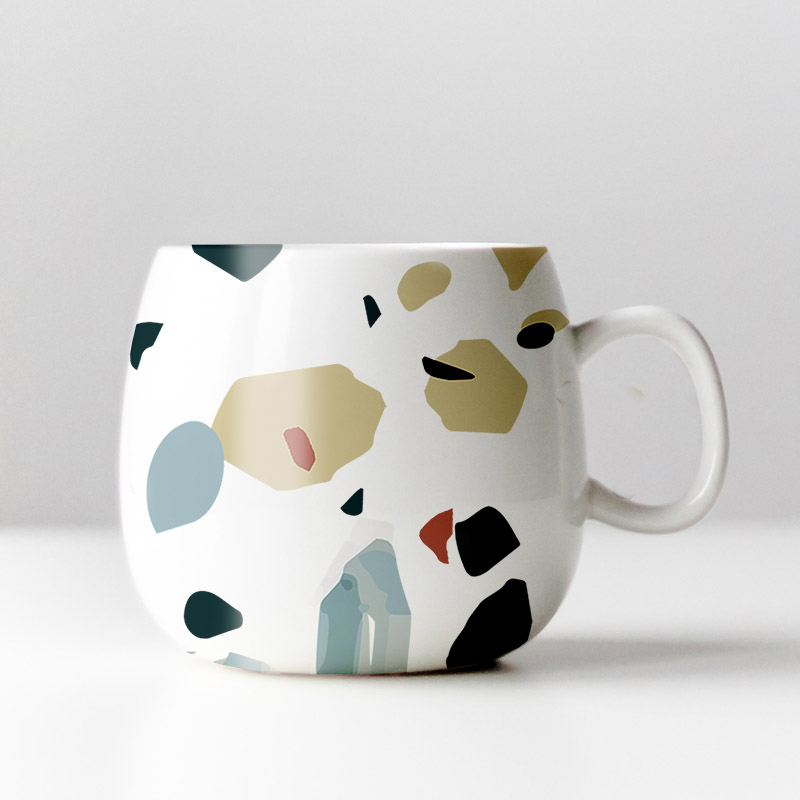 terrazzo design coffee mug design by MACREATE