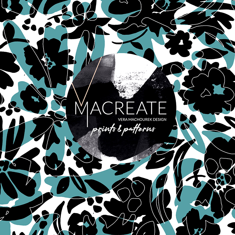 floral outline graphic print by MACREATE