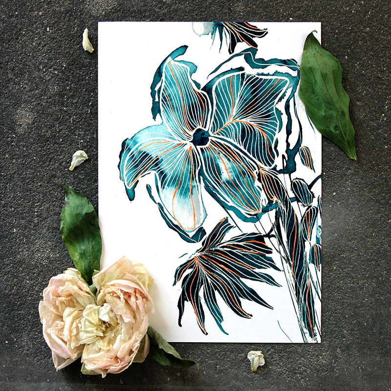 artistic handdrawn flower design by MACREATE