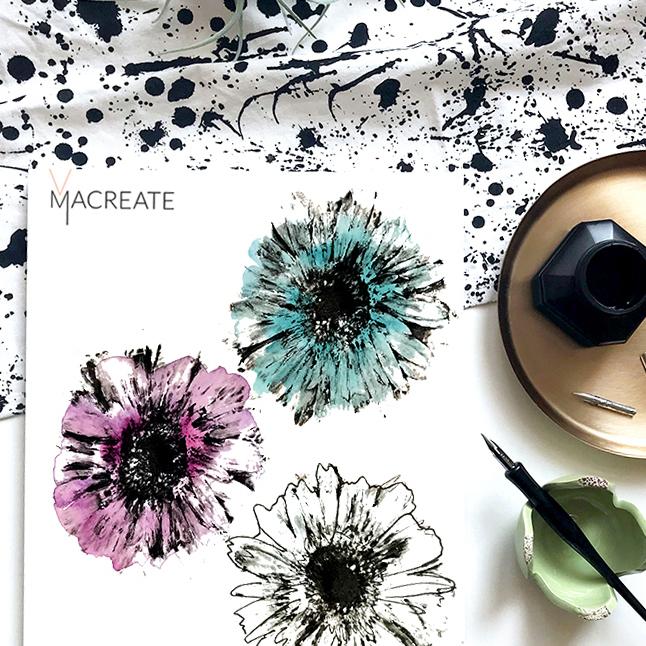 artistic flower drawing by MACREATE design