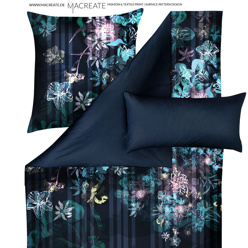 Duvet bedding print collection by MACREATE in colorway Navy