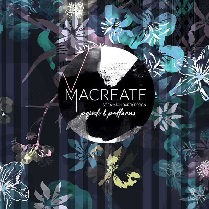 Artistic flower and stripe design by MACREATE in Navy