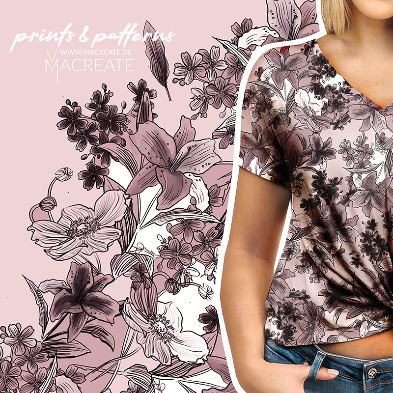 Flower outline design by MACREATE for T-shirt womenswear collection