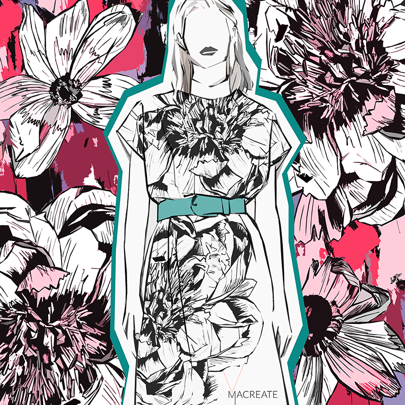 Flower outline print design by MACREATE for womenswear fashion