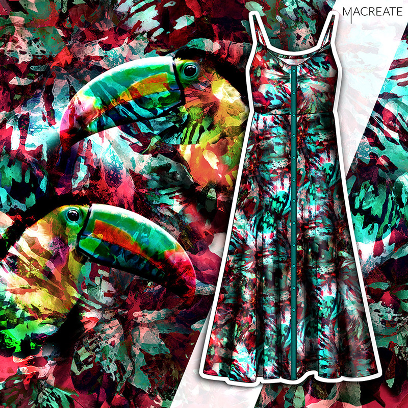 Tropical tucan print design by MACREATE for a dress womenswear collection