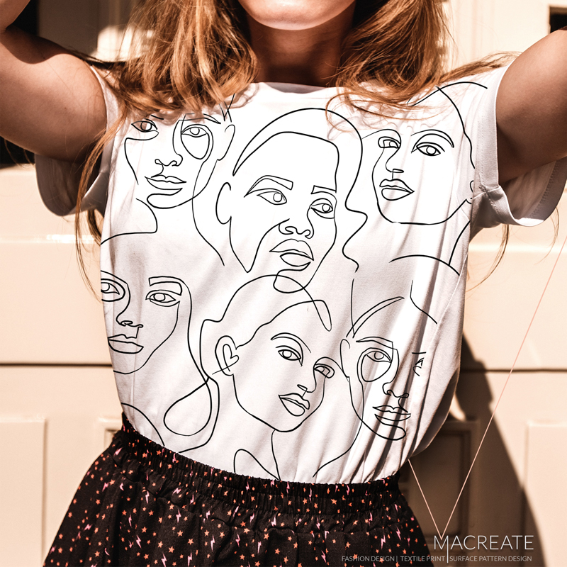 artistic faces outline print design by MACREATE